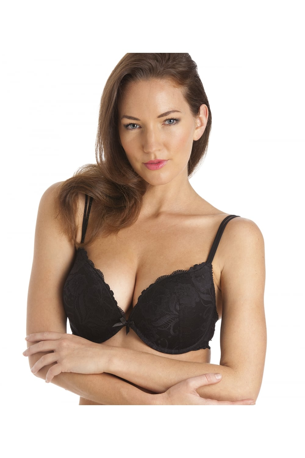 Camille Womens Ladies Super Boost Padded Push Up Black Underwired Bra