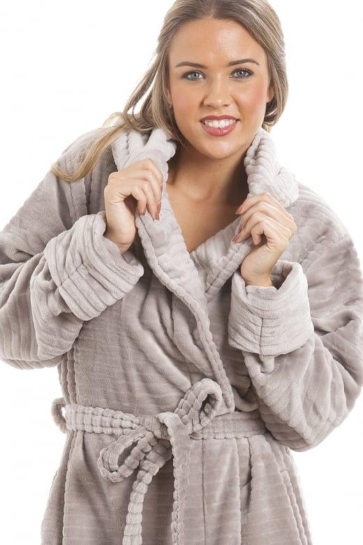 6245dd93ef0 Camille Super Soft Fleece Grey Dressing gown