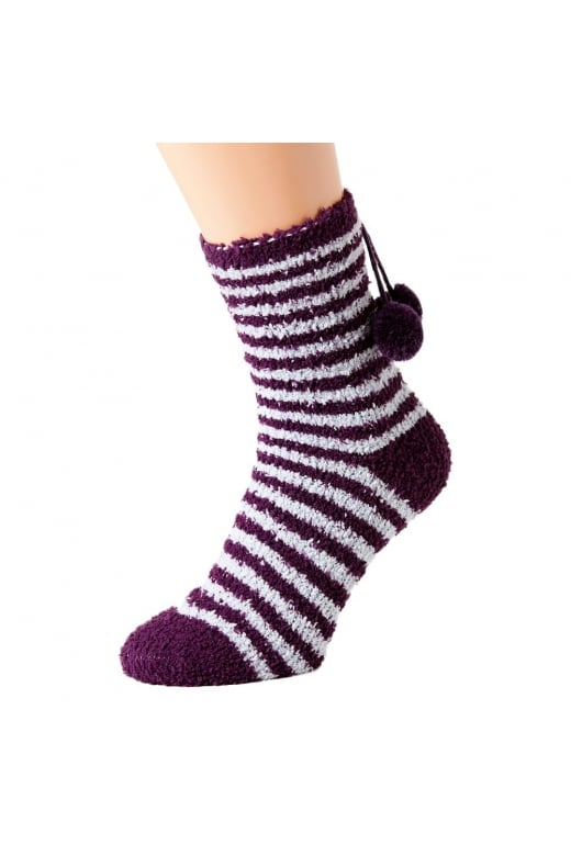 Camille Super Soft Four Pack Pink & Purple Spot & Purple & Lilac Stripe Bed Socks