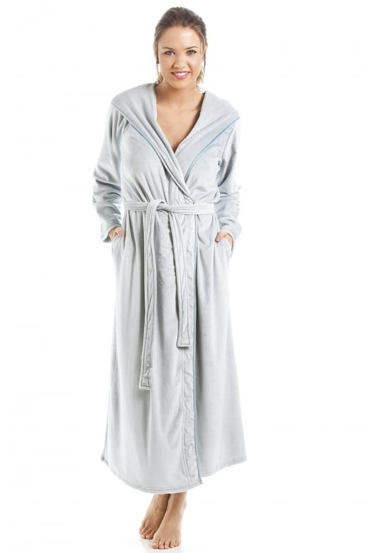 Camille Supersoft Duck Egg Velour Long Length Bathrobe