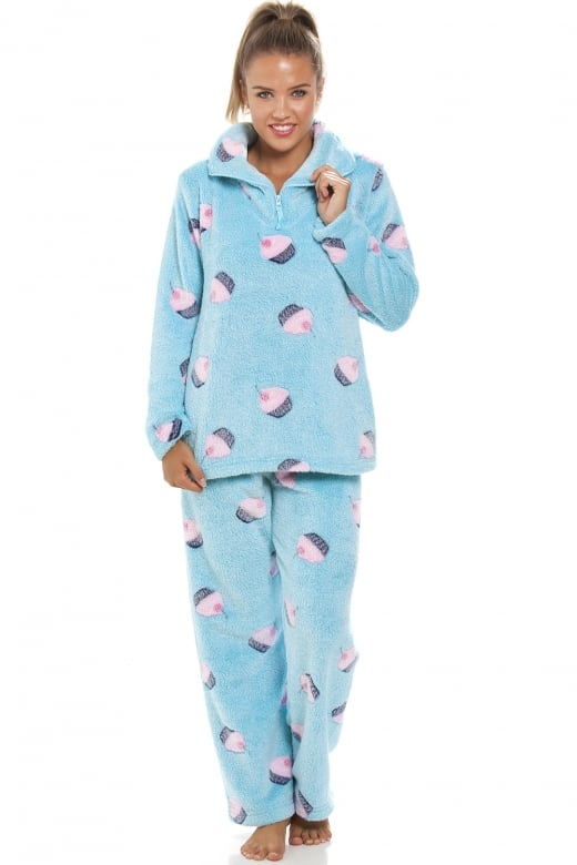 Camille Supersoft Fleece Aqua Blue Cupcake Pyjama Set