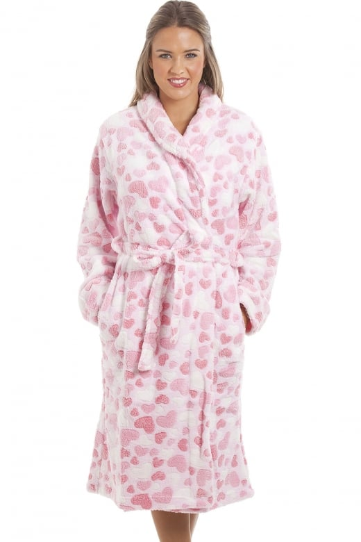 Camille Supersoft Fleece Light Pink Heart Print Bathrobe