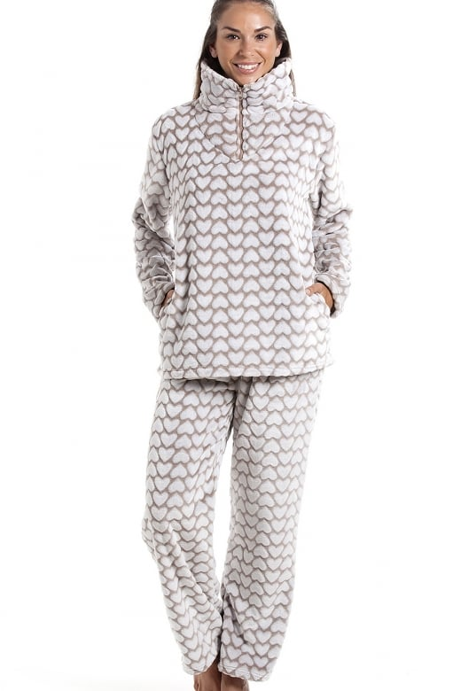 Camille Supersoft Fleece Mink And White Heart Print Pyjama Set