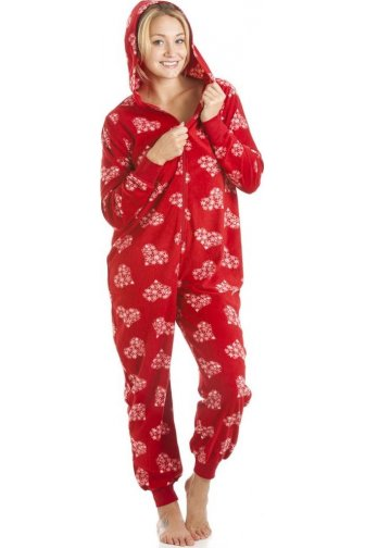 Supersoft Fleece Red And White Festive Snowflake Love Heart All In One