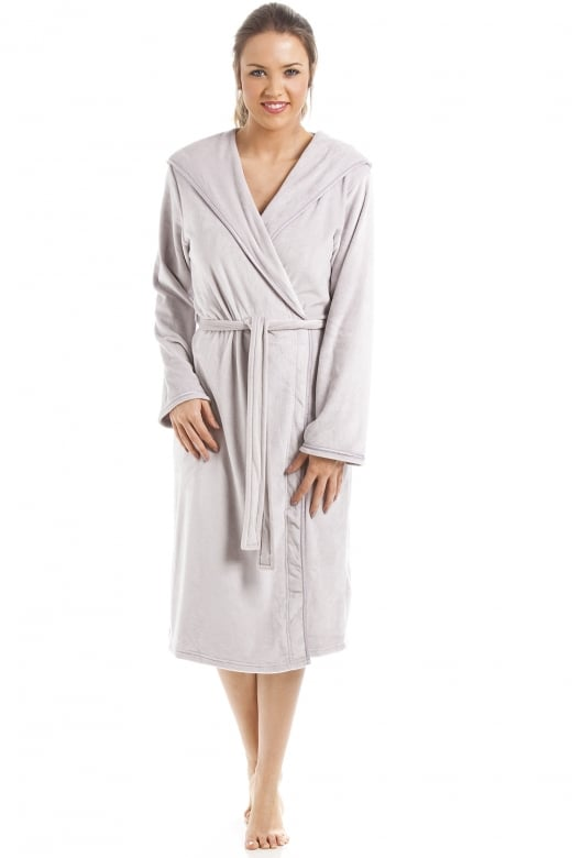 Camille Supersoft Grey Velour Knee Length Bathrobe