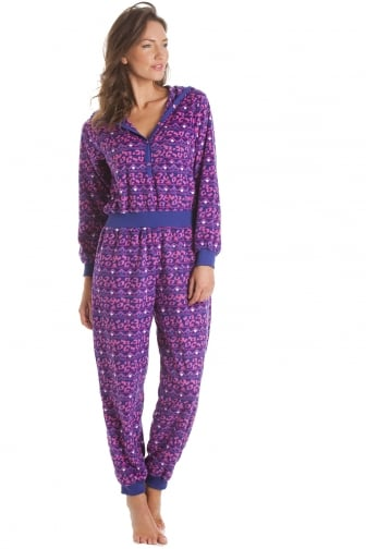 Supersoft Pink and Purple Print Hooded Onesie