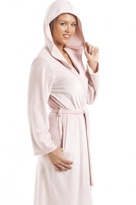 6fc7fd7a4a Camille Supersoft Pink Velour Knee Length Bathrobe