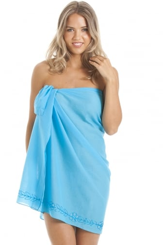 Turquoise Blue Mid Length Sarong With Floral Embroidery