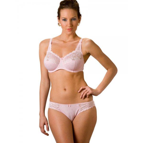 Camille Womens Ladies Lingerie Underwear Cream And Pink Underwired Mesh Bra