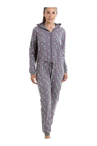 Various Colour Cotton Star Print Hooded All In One Onesie