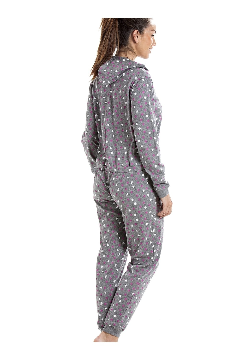99912455641 Camille Various Colour Cotton Star Print Hooded All In One Onesie