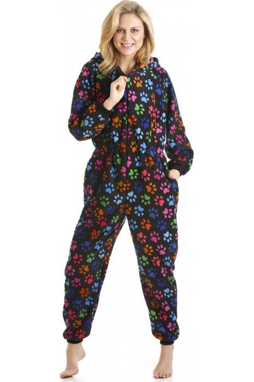 Camille Various Colour Paw Print All In One Pyjama Onesie