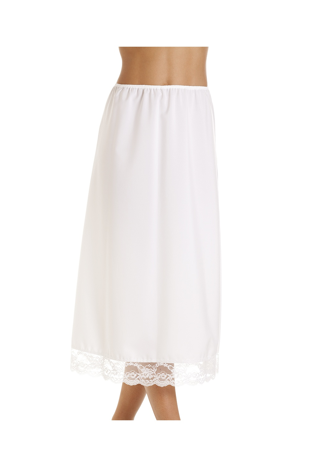 White 32 Half Length Lace Trim Under Skirt Slip