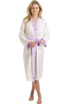 Camille White And Lilac Floral Print Jersey Bathrobe