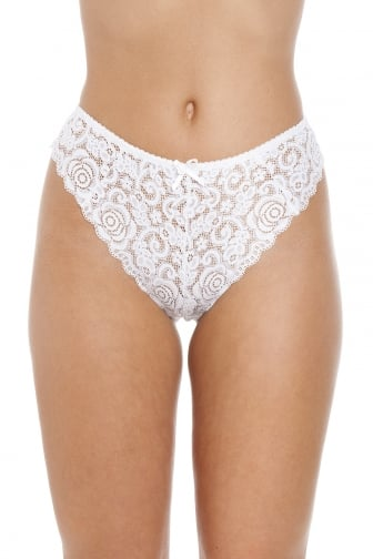 White Floral Lace Melody Thong