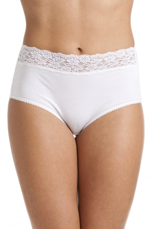 Camille White Floral Lace Trim Maxi Briefs