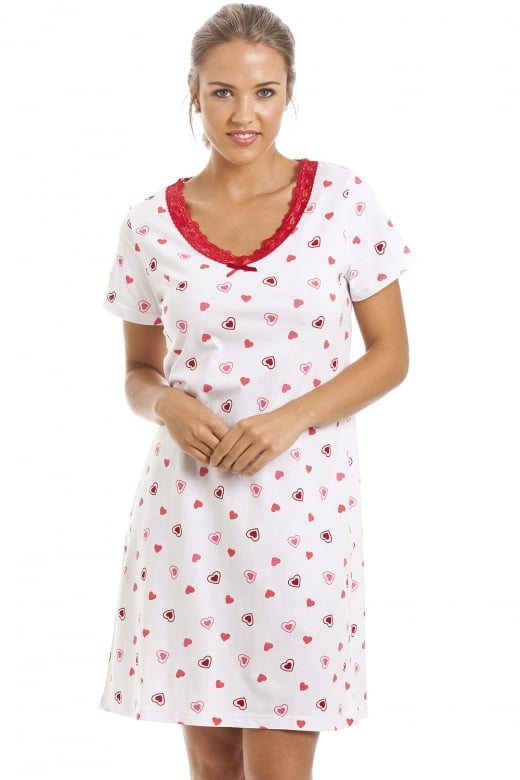 Camille White Heart Print Cotton Nightdress