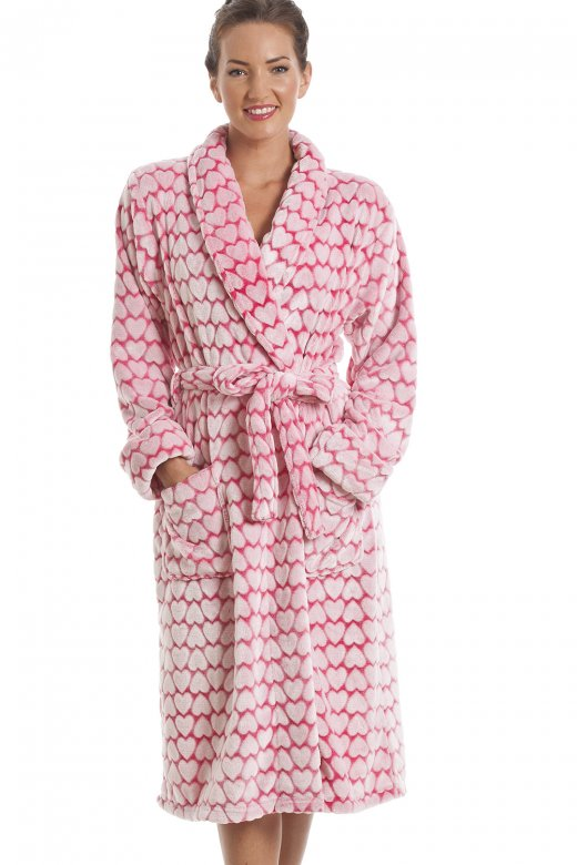 Camille White Heart Print Supersoft Fleece Pink Bathrobe