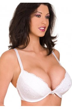 Camille White Padded Plunge Push Up Lace Bra