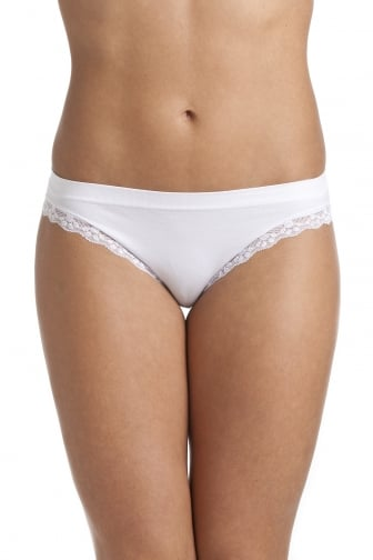 White Seam Free Lace Trim Soft Comfort Brief