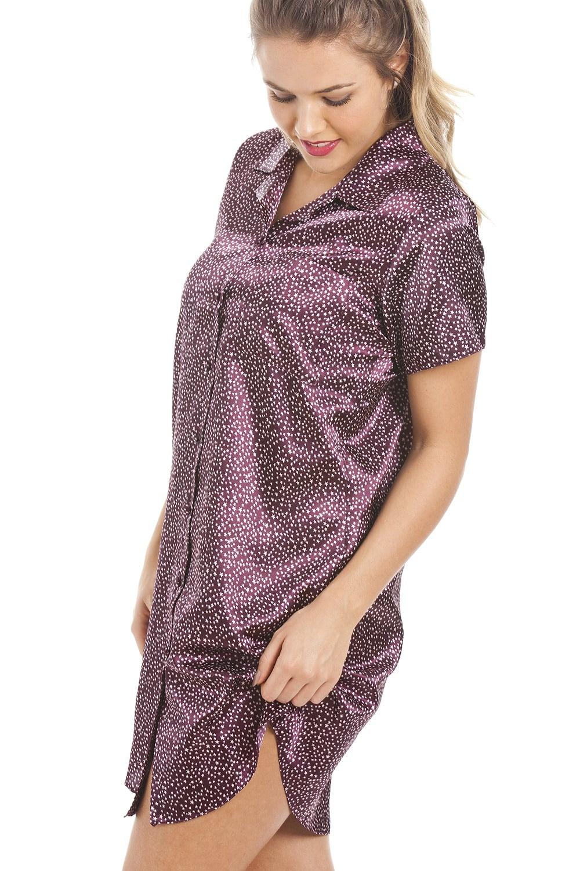 ddc4434547 Camille White Star Print Purple Satin Nightshirt