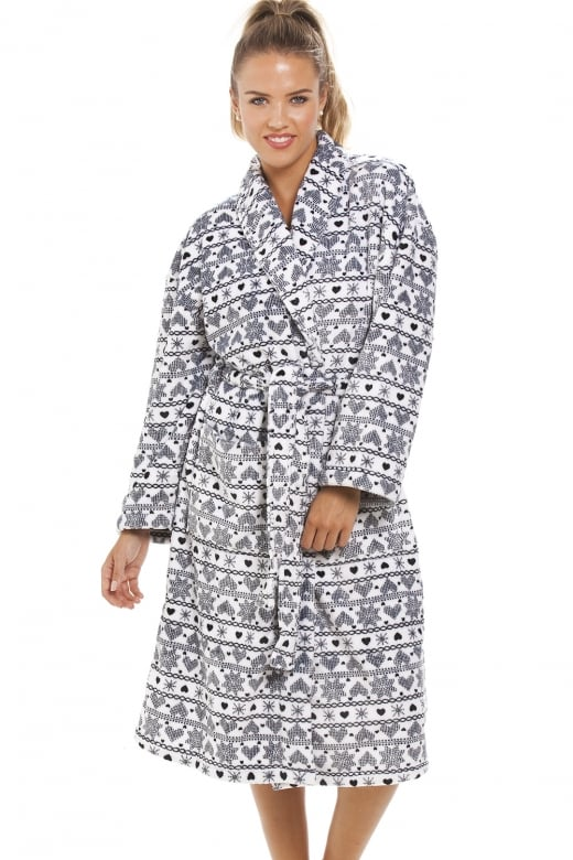 Camille White Supersoft Fleece Black Snowflake Aztec Bathrobe