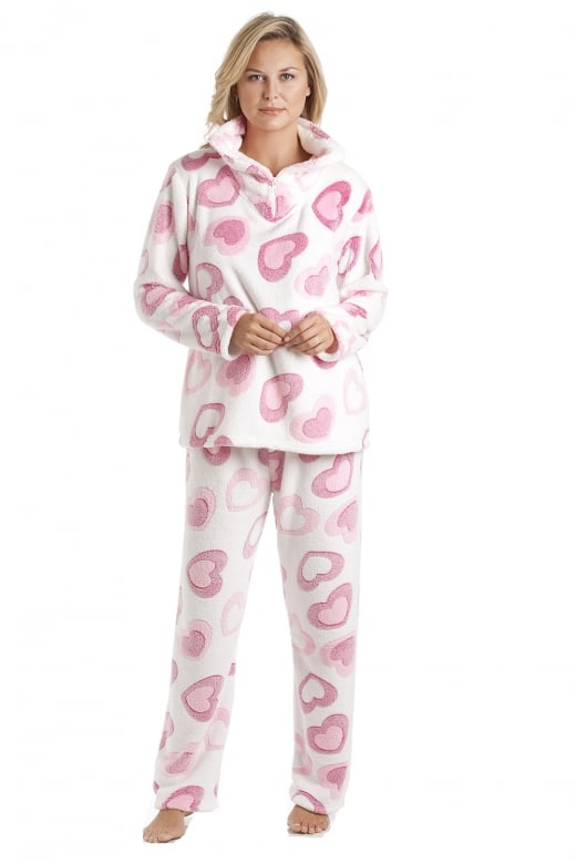 Camille White Supersoft Fleece Pink Heart Print Pyjama Set