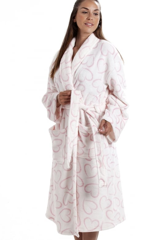 Camille White Supersoft Fleece Pink Heart Print Shawl Collar Bathrobe