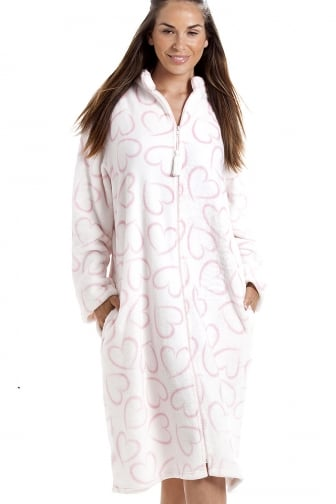 White Supersoft Fleece Pink Heart Print Zip Up Lounger