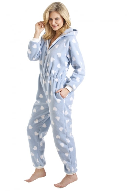 Camille Womens And Children Supersoft White Heart Print Blue All In One