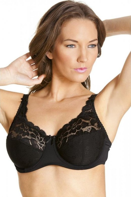 Camille Womens Black Floral Lace Cup Non Padded Underwired Jacquard Bra