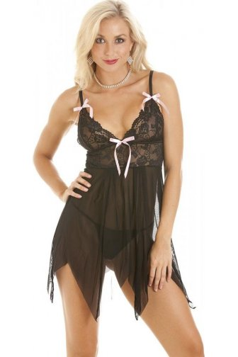 Womens Black Lingerie Babydoll Lace Sexy Womens Thongs Size S-XL