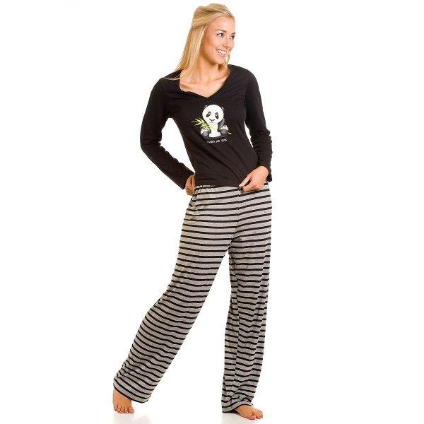 New Ladies Camille Black Pyjamas Womens Trousers Top Set Panda Sizes ...