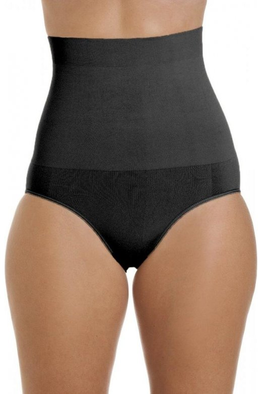 Camille Womens Black Seamfree Shapewear Comfort Hi Waisted Control Brief