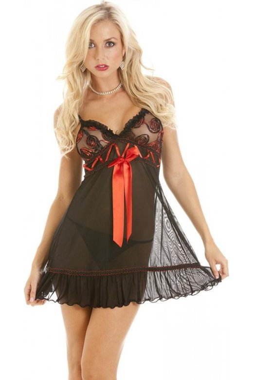 Camille Womens Black Sheer Seductive Babydoll With Long Decorative Red Bow