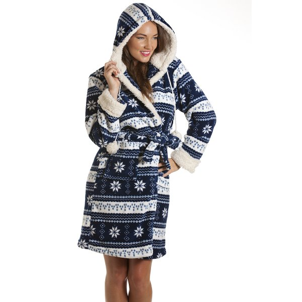 Womens Blue Nordic Pattern Robe Dressing Gown