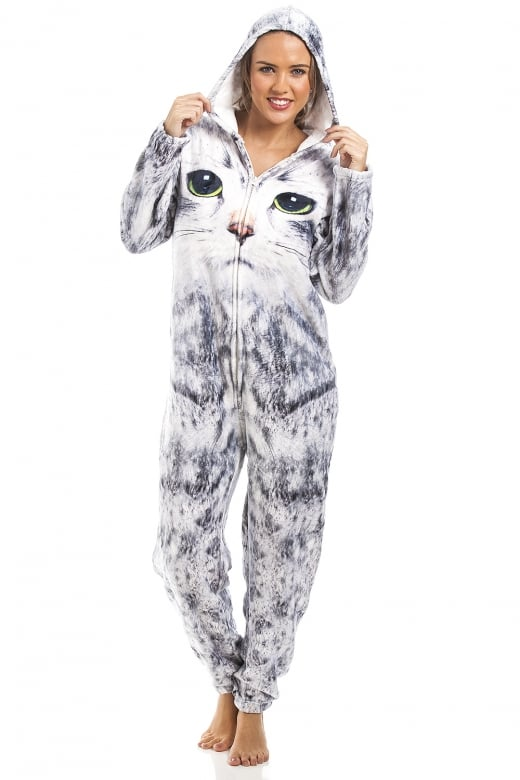 Camille Womens & Childrens Light Grey Stunning Cat Print Onesie