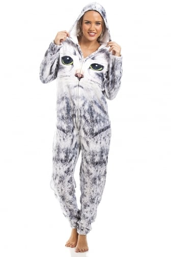 Womens & Childrens Light Grey Stunning Cat Print Onesie