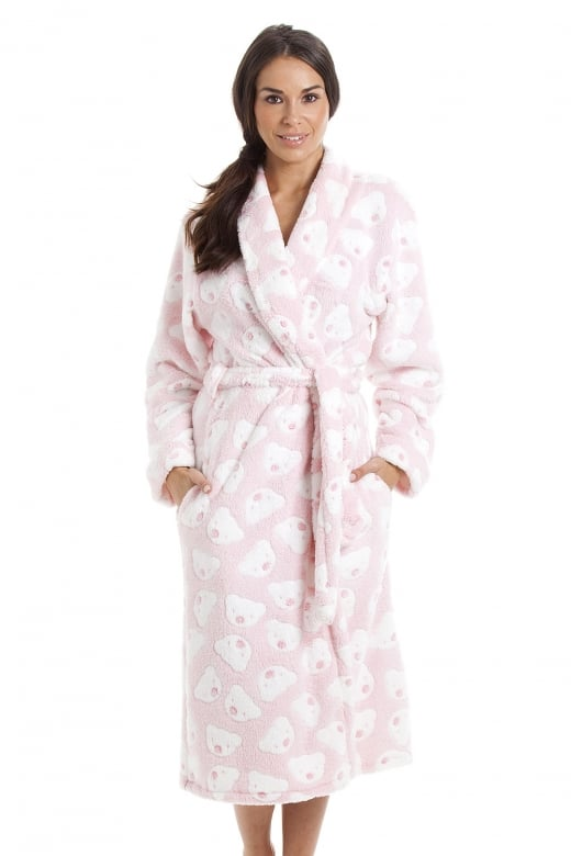 Camille Womens & Childrens Super Soft Fleece UK made Pink Bear Print Bathrobe