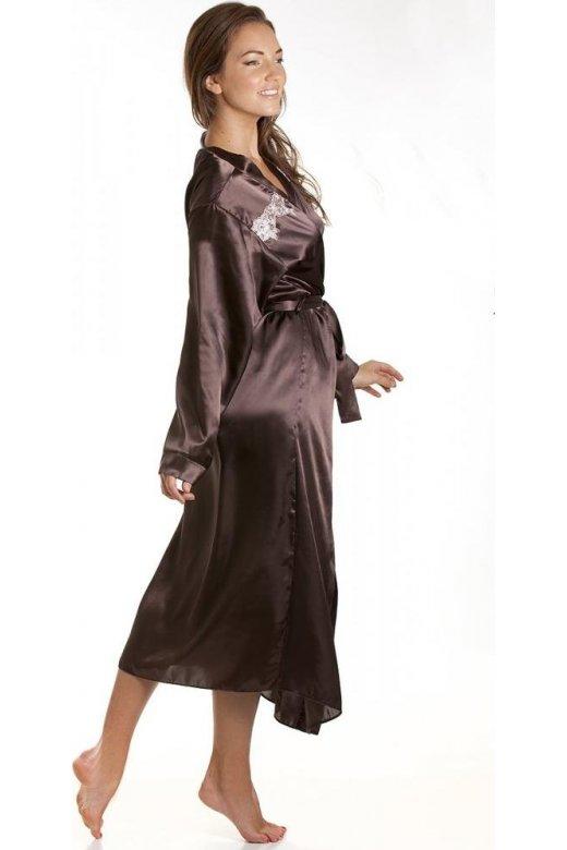 Womens Chocolate Brown Satin Kimono Dressing Gown