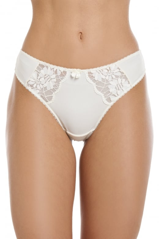 Camille Womens Classic Ivory Floral Lace Thong