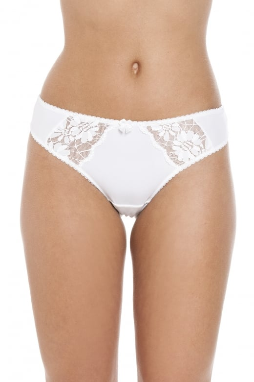 Camille Womens Classic White Floral Lace Thong