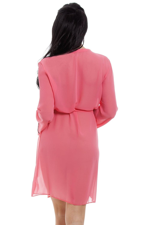 Camille Womens Nightwear Lighweight Coral Pink Chiffon Chemise Nightdress /& Wrap