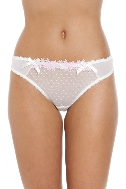 Camille Womens Cream And Pink Lace Diamond Thong