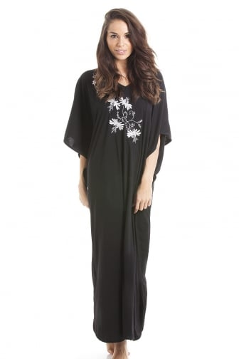 Camille Womens Embroidered Long Length Black Kaftan