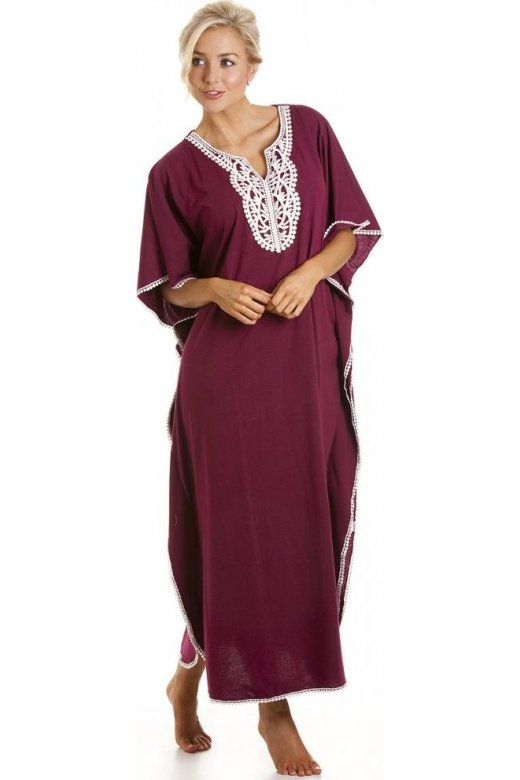 Camille Womens Embroidered Long Length Burgundy Kaftan Beachwear One Size
