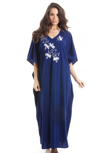 Camille Womens Embroidered Long Length Navy Blue Kaftan