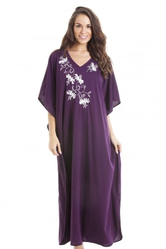 Camille Womens Embroidered Long Length Purple Kaftan