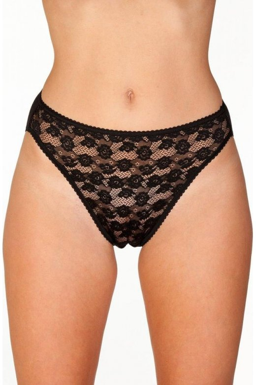 Camille Womens Floral Lace Front High Leg Briefs In Black