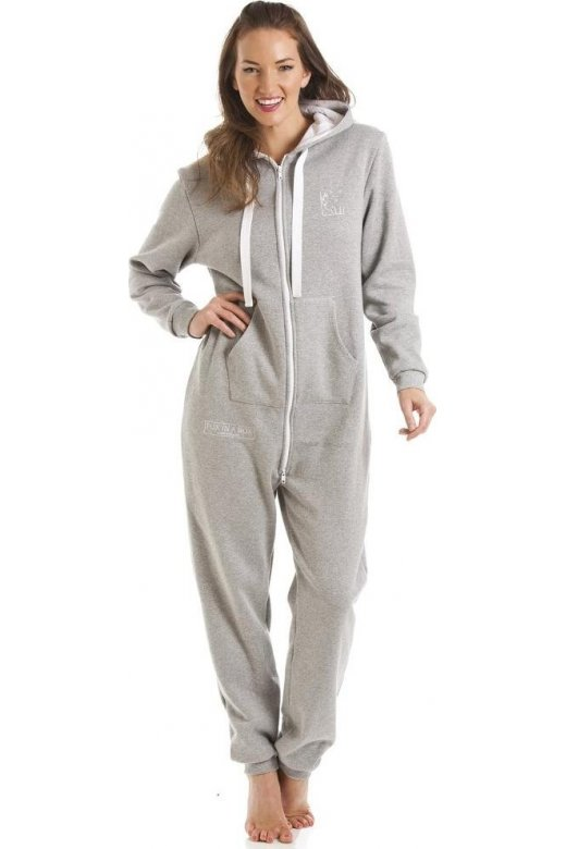 Camille Womens Fox In A Box Grey Hooded Onesie Jumpsuit
